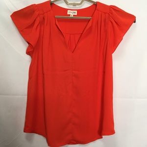 Maison Jules Red V-Neck Pleated Top Size XS L37